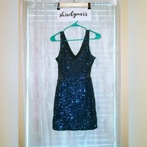 NYE Bebe Blue Sparkly Dress